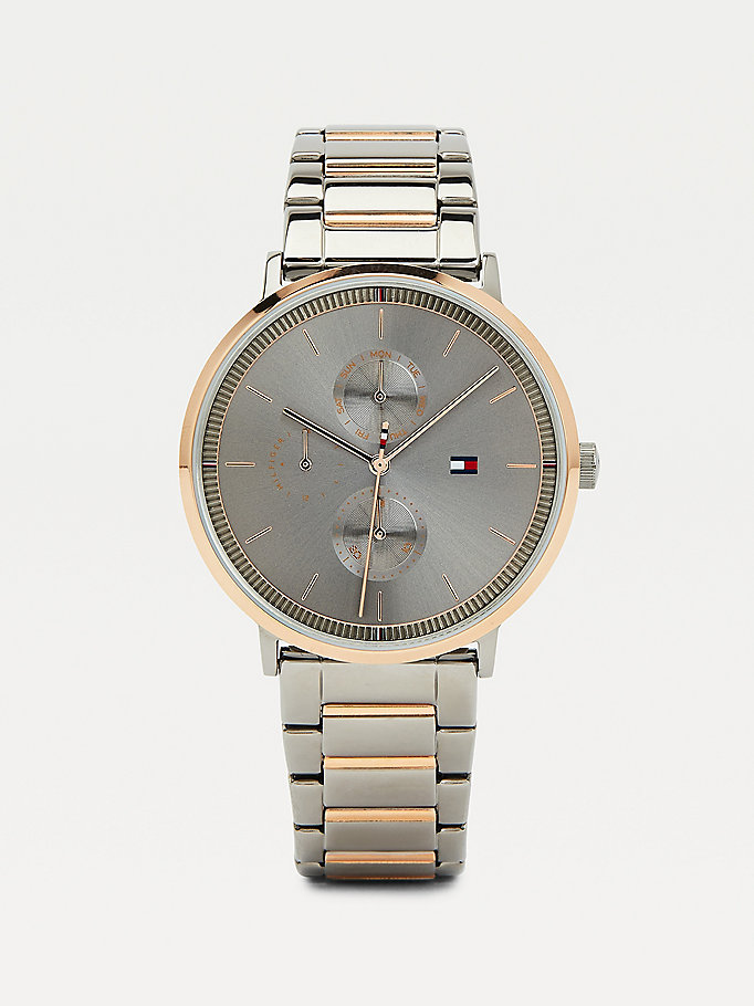 pink gunmetal grey multifunction bracelet watch for women tommy hilfiger