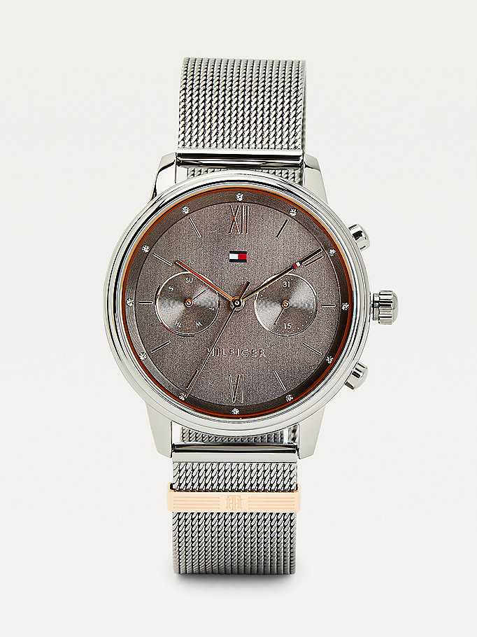 grey engraved monogram gunmetal watch for women tommy hilfiger