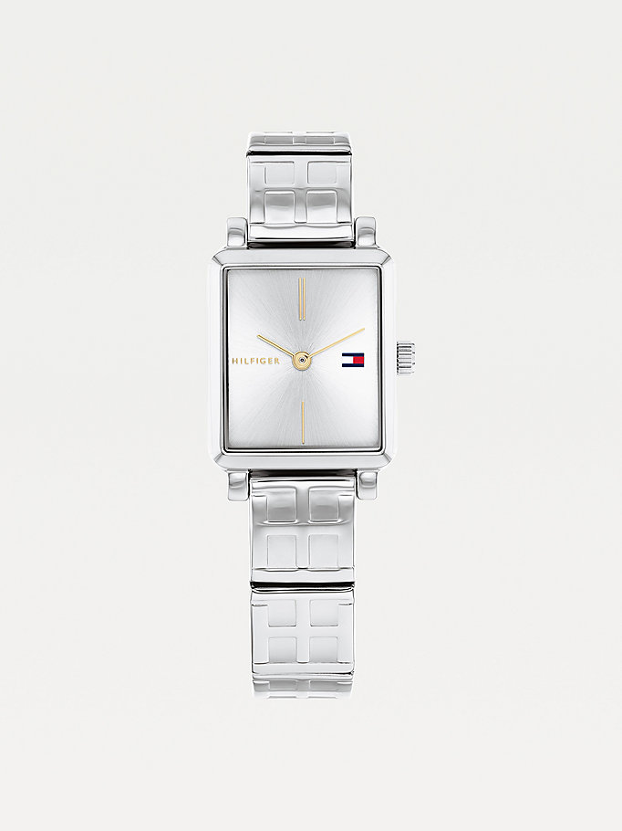 silver stainless steel square monogram watch for women tommy hilfiger