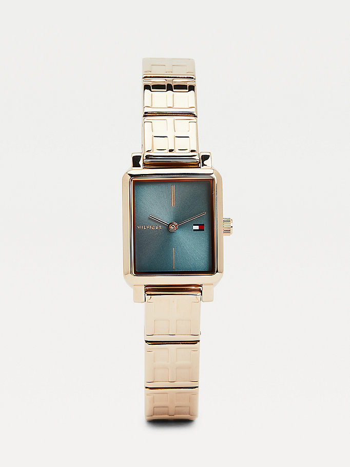 pink carnation gold-plated square monogram watch for women tommy hilfiger