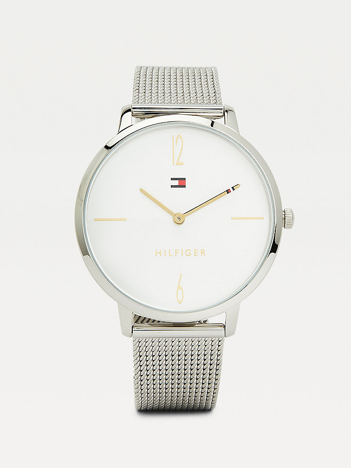 silver stainless steel mesh watch for women tommy hilfiger
