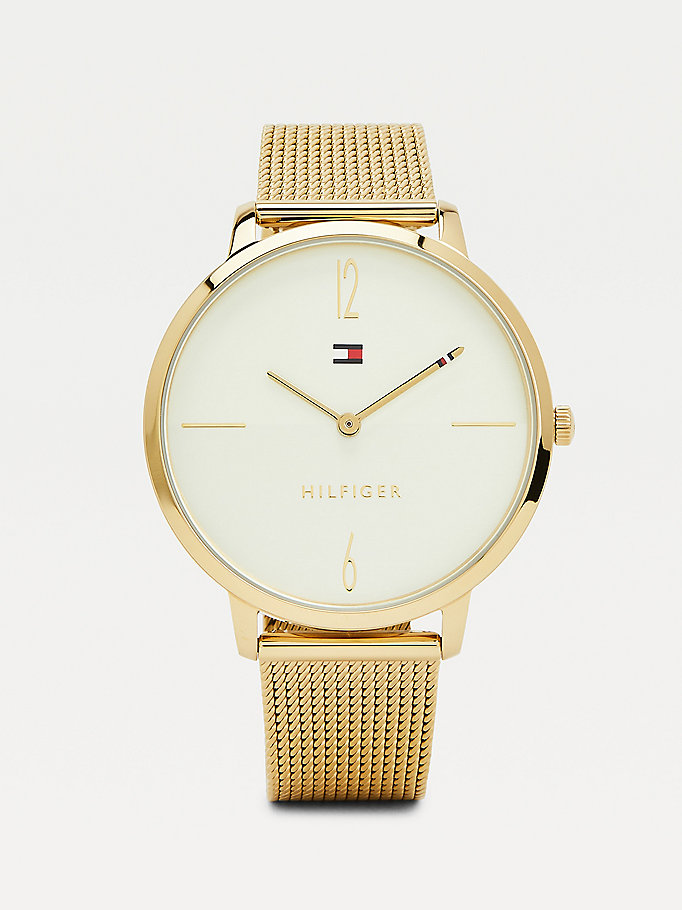gold gold-plated mesh watch for women tommy hilfiger