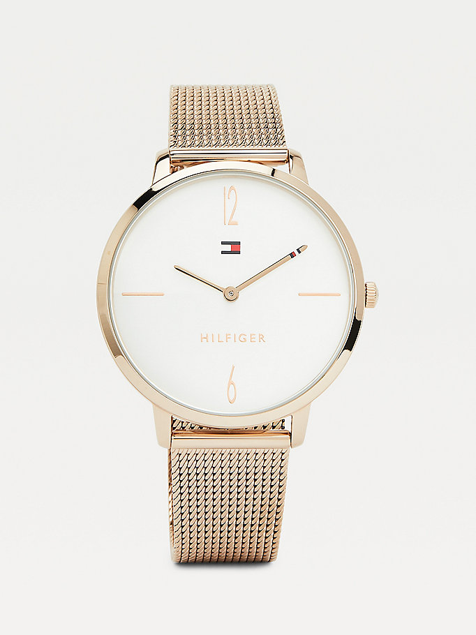 pink carnation gold-plated mesh watch for women tommy hilfiger