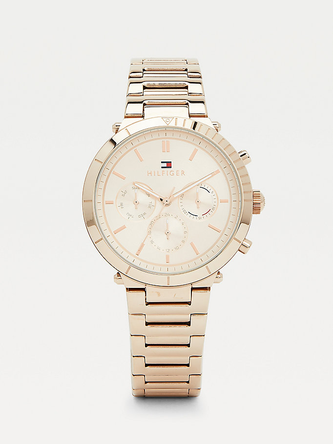 pink carnation gold-plated sport watch for women tommy hilfiger