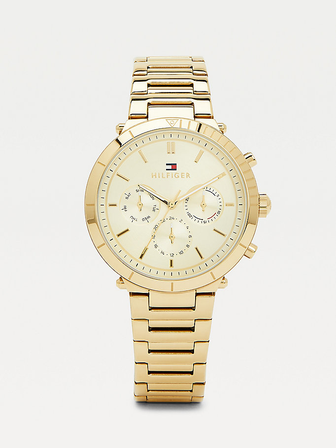 gold gold-plated sports watch for women tommy hilfiger
