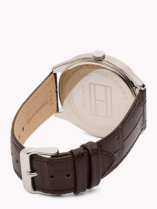 TOMMY HILFIGER Crocodile-Embossed Leather Strap Watch - BROWN - TOMMY HILFIGER Watches - detail image 1