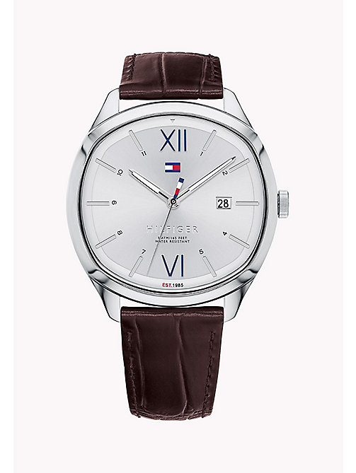 TOMMY HILFIGER Crocodile-Embossed Leather Strap Watch - BROWN - TOMMY HILFIGER Father's day - main image