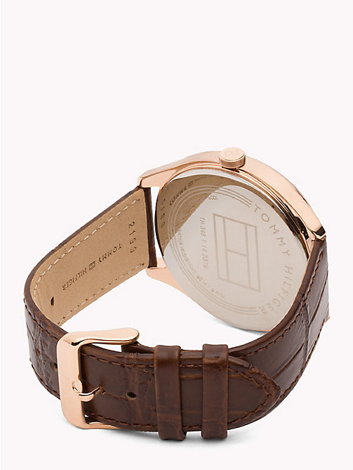 TOMMY HILFIGER Water-Resistant Leather and Rose Gold Watch - BROWN - TOMMY HILFIGER Watches - detail image 1