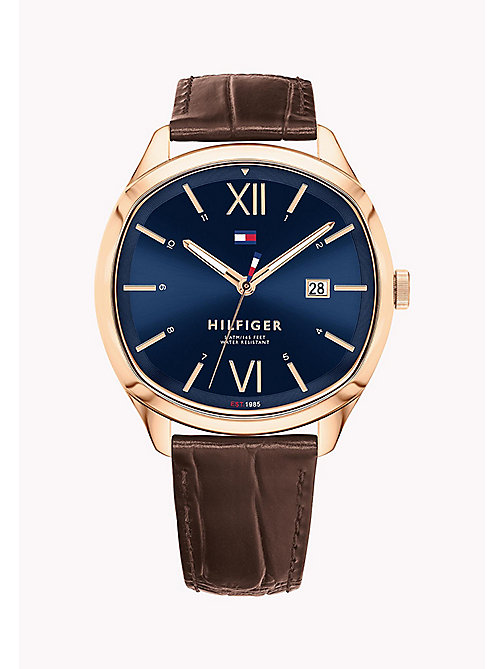 TOMMY HILFIGER Water-Resistant Leather and Rose Gold Watch - BROWN - TOMMY HILFIGER Watches - main image