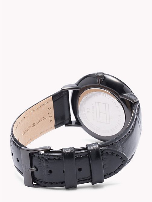TOMMY HILFIGER Dane Black Leather Watch - BLACK LEATHER - TOMMY HILFIGER Watches & Jewelry - detail image 1