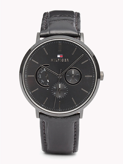 TOMMY HILFIGER Dane zwart leren horloge - BLACK LEATHER - TOMMY HILFIGER Horloges - main image