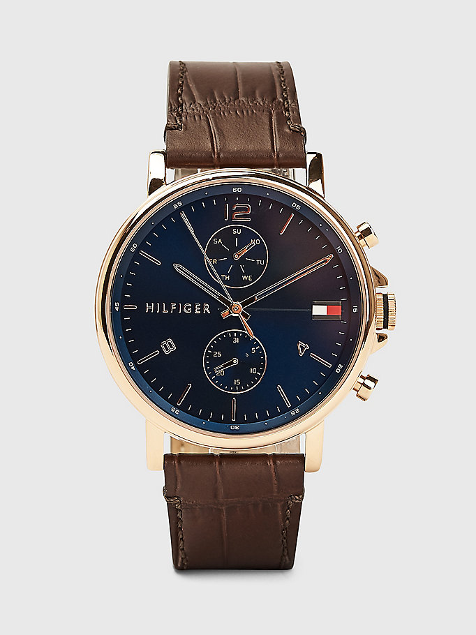 brown brown leather strap watch for men tommy hilfiger