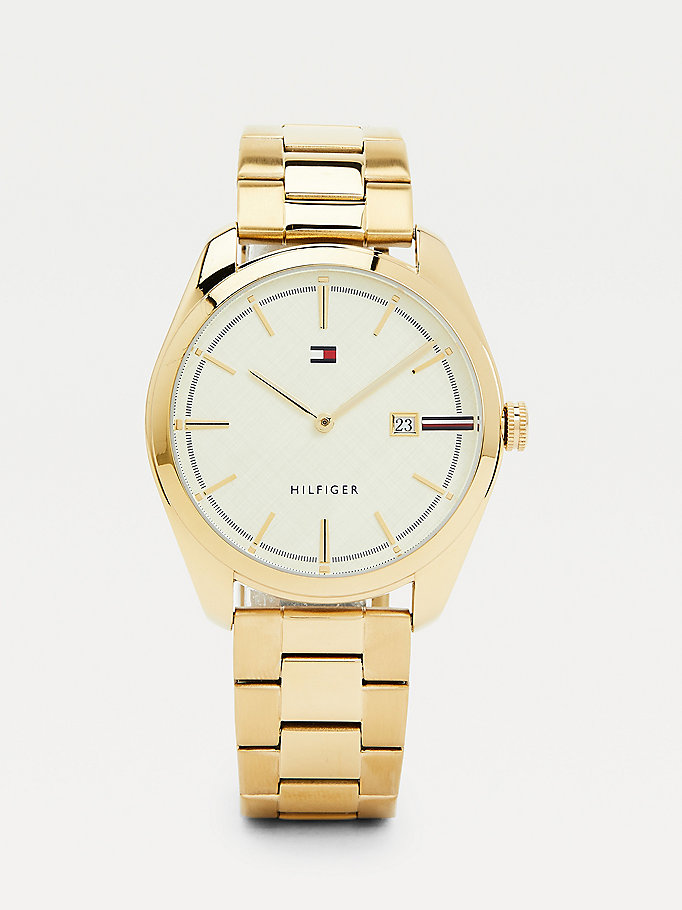 gold ion yellow gold-plated chain-link watch for men tommy hilfiger