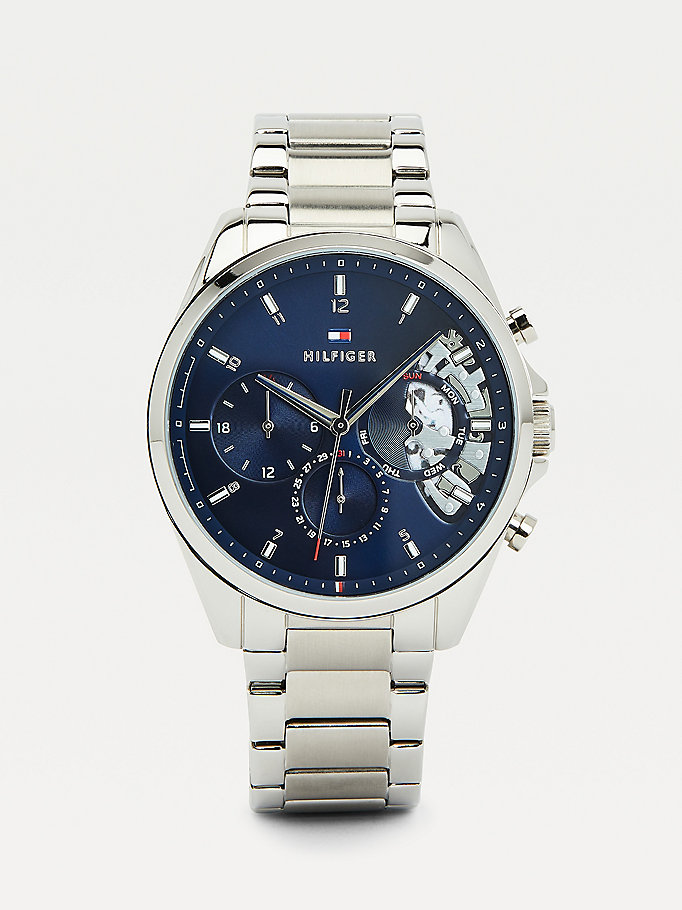 silver stainless steel blue dial watch for men tommy hilfiger