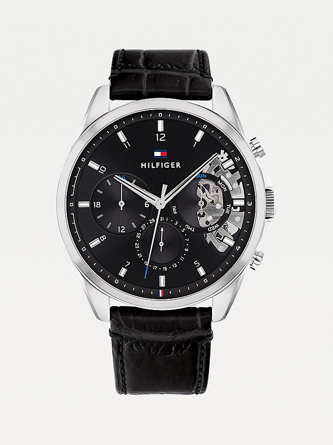black black croco-print leather watch for men tommy hilfiger
