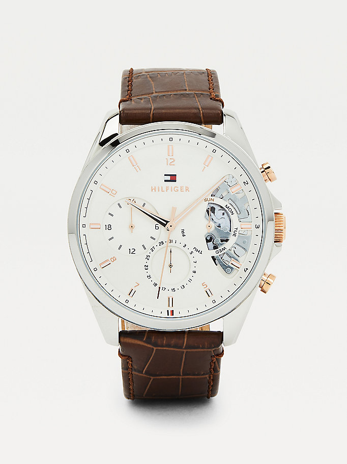 brown brown croco-print leather watch for men tommy hilfiger