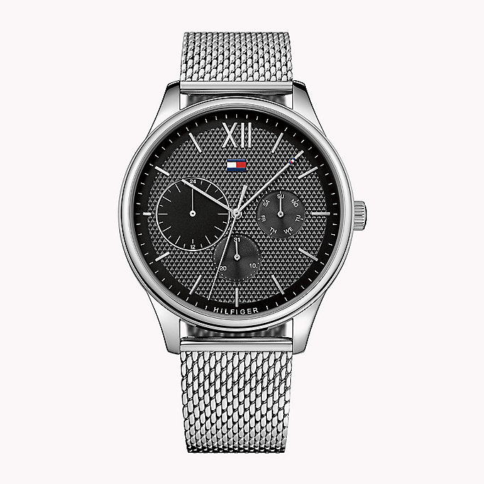 black stainless steel mesh strap watch for men tommy hilfiger
