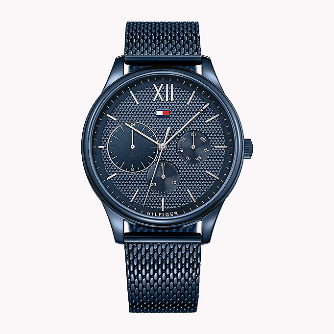 blue stainless steel mesh strap watch for men tommy hilfiger