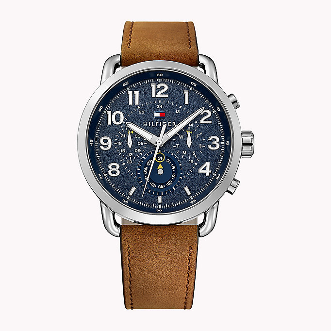blue stainless steel leather strap watch for men tommy hilfiger