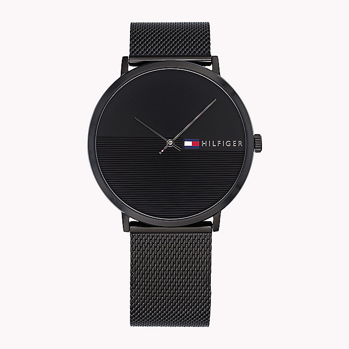 black minimalist black watch for men tommy hilfiger