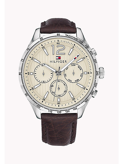 TOMMY HILFIGER Tachymeter Leather Strap Watch - BROWN - TOMMY HILFIGER Watches - main image