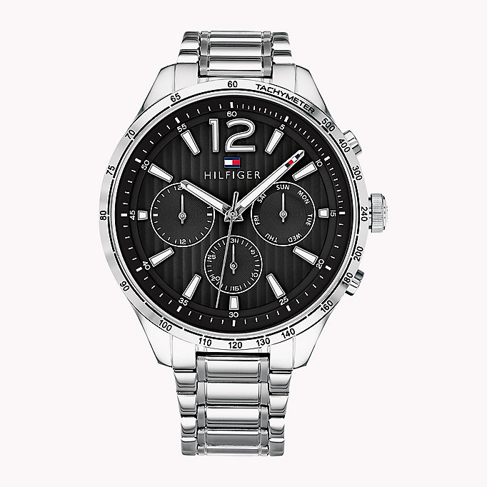 black stainless steel tachymeter watch for men tommy hilfiger