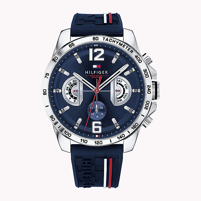 blue signature strap water-resistant watch for men tommy hilfiger