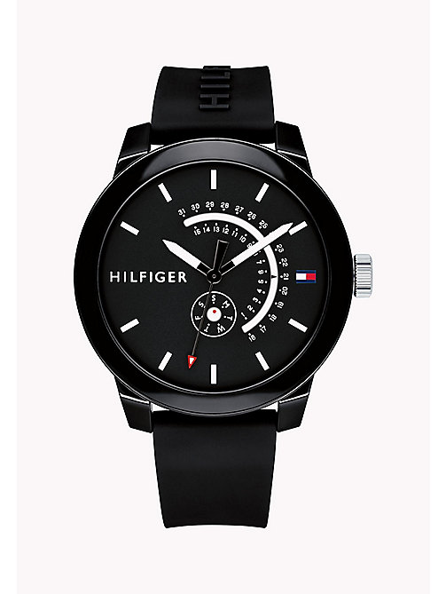 TOMMY HILFIGER Embossed Strap Analogue Watch - BLACK - TOMMY HILFIGER Watches - main image