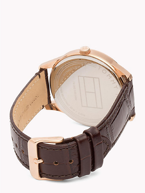 TOMMY HILFIGER Rose Gold and Leather Watch - BROWN - TOMMY HILFIGER Watches - detail image 1