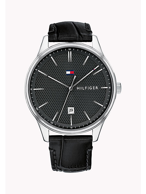 TOMMY HILFIGER Diamond Micro-Pattern Dial Watch - BLACK - TOMMY HILFIGER Watches - main image