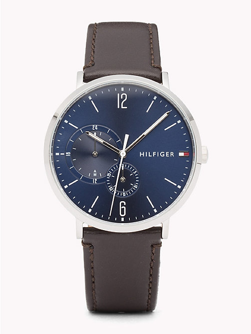 TOMMY HILFIGER Dual Dial Brown Strap Watch - BROWN - TOMMY HILFIGER Watches & Jewelry - main image