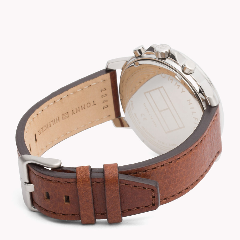 Tommy Hilfiger - Contrast Dial Brown Strap Watch - 2