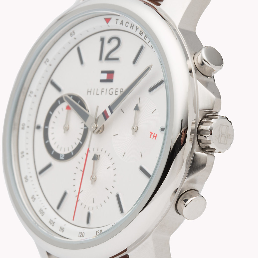 Tommy Hilfiger - Contrast Dial Brown Strap Watch - 3