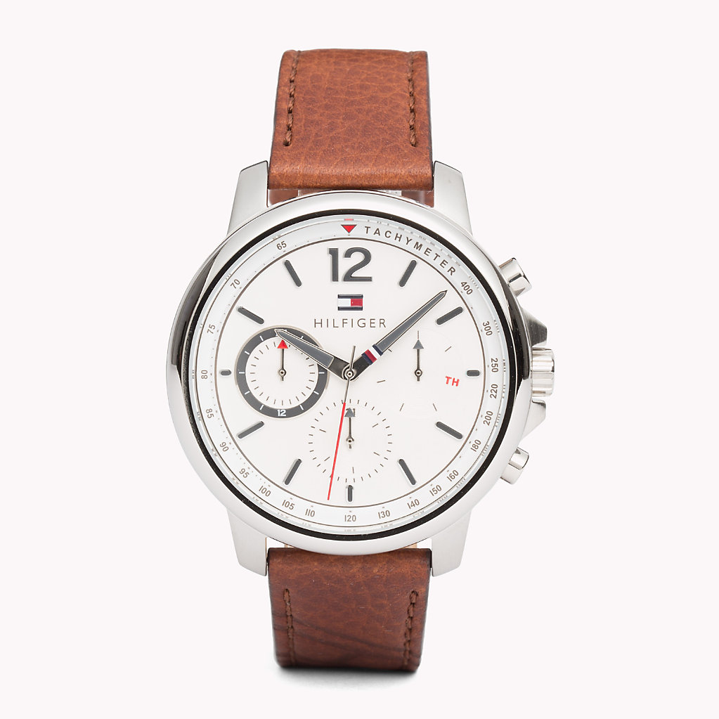 Tommy Hilfiger - Contrast Dial Brown Strap Watch - 1