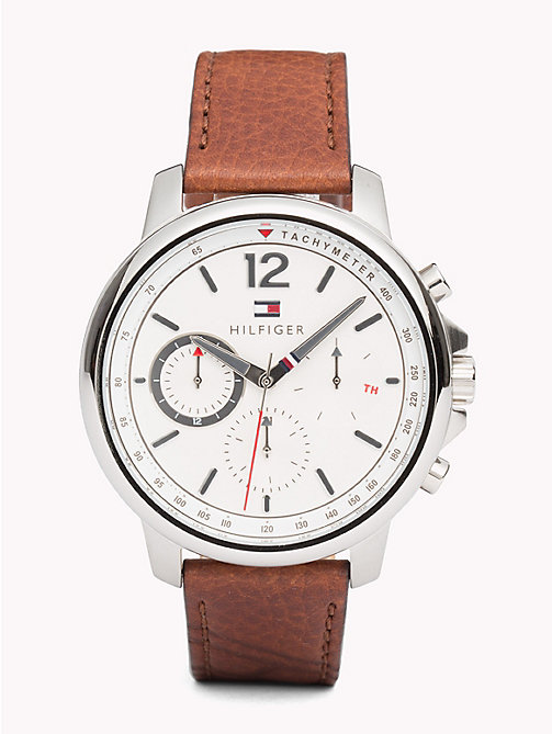 TOMMY HILFIGER Contrast Dial Brown Strap Watch - LIGHT BROWN - TOMMY HILFIGER Watches & Jewelry - main image
