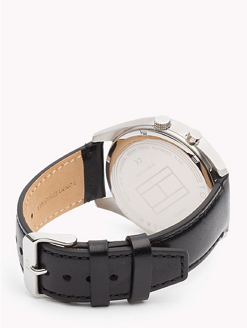 TOMMY HILFIGER Deacan Black Leather Watch - BLACK LEATHER - TOMMY HILFIGER Watches & Jewelry - detail image 1