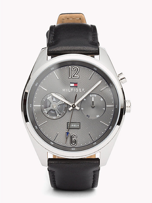 TOMMY HILFIGER Deacan Black Leather Watch - BLACK LEATHER - TOMMY HILFIGER Watches & Jewelry - main image