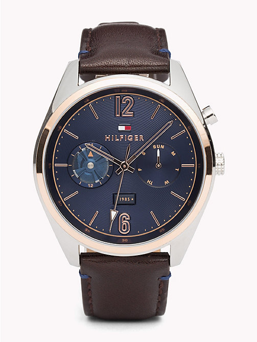 TOMMY HILFIGER Montre Deacan cuir marron - BROWN LEATHER - TOMMY HILFIGER Montres & Bijoux - image principale