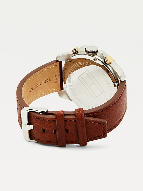 TOMMY HILFIGER Montre Decker cuir marron - BROWN LEATHER - TOMMY HILFIGER Montres & Bijoux - image détaillée 1