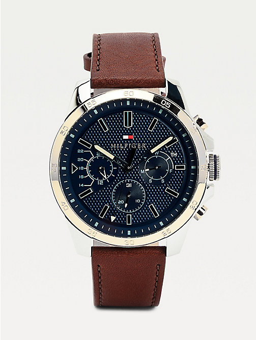TOMMY HILFIGER Decker Brown Leather Watch - BROWN LEATHER - TOMMY HILFIGER Watches & Jewelry - main image