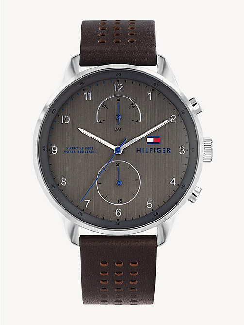 922e2dbf3 brown perforated leather strap sub-counter watch for men tommy hilfiger