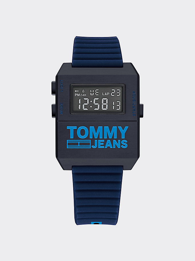 blue digital blue silicone strap watch for men tommy jeans