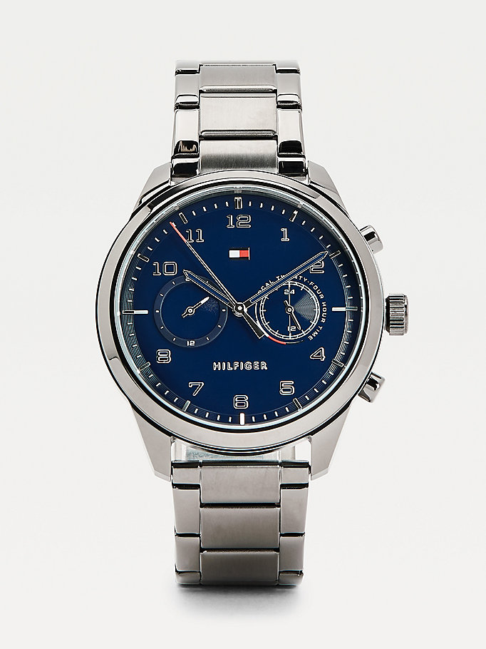 grey round face gunmetal watch for men tommy hilfiger