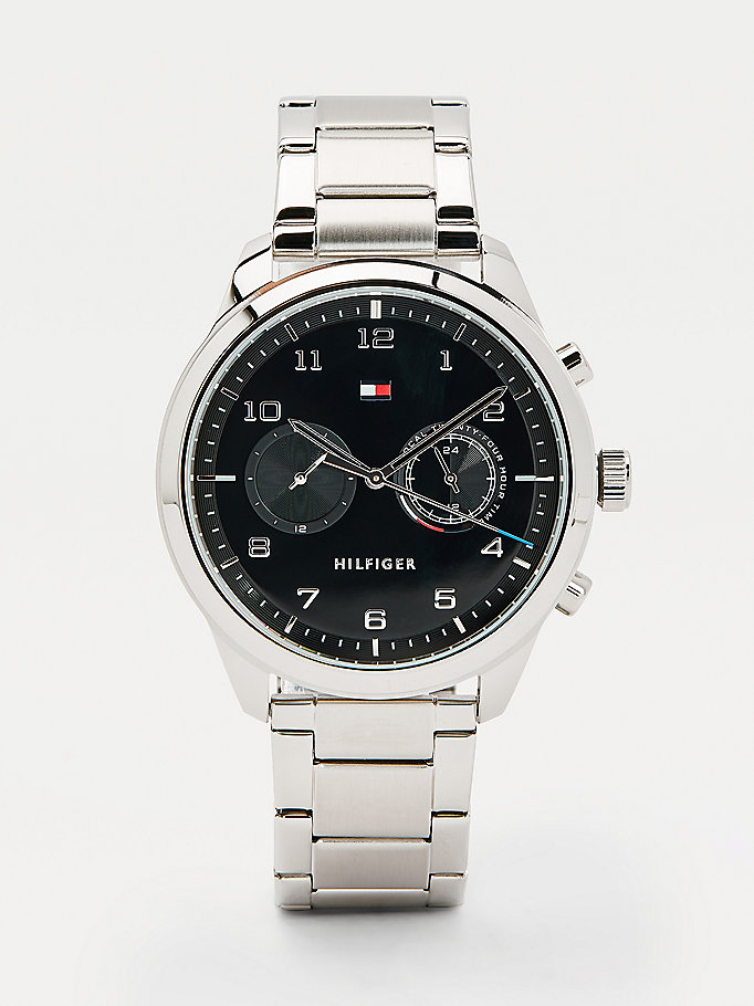 silver multifunction round face stainless steel watch for men tommy hilfiger