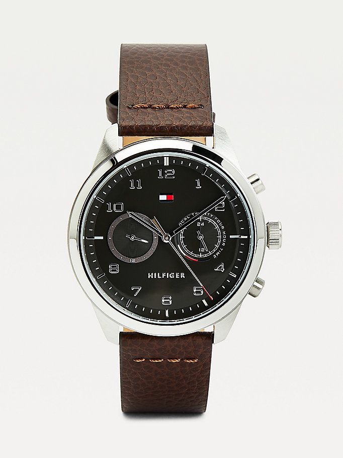 brown leather strap round face steel watch for men tommy hilfiger