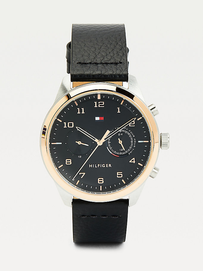 black contrast bezel leather strap watch for men tommy hilfiger