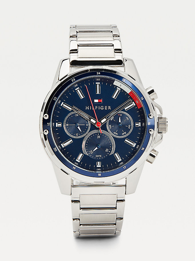 silver multifunction stainless steel watch for men tommy hilfiger
