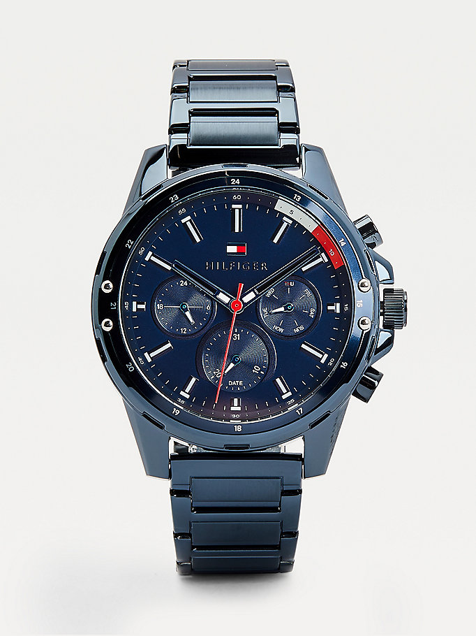 blue multifunction ionic-plated watch for men tommy hilfiger