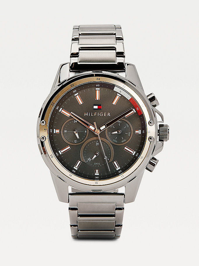 grey multifunction gunmetal grey watch for men tommy hilfiger
