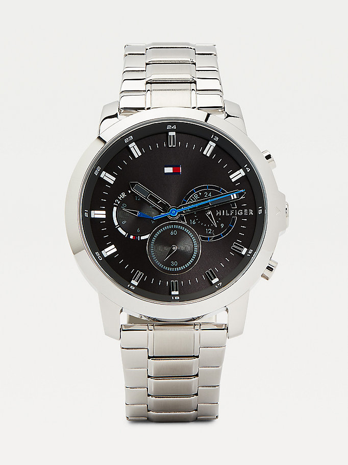 silver multifunction chain-link strap watch for men tommy hilfiger
